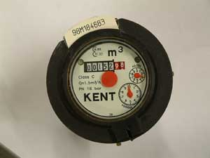 An image of the dial on a Kent water meter