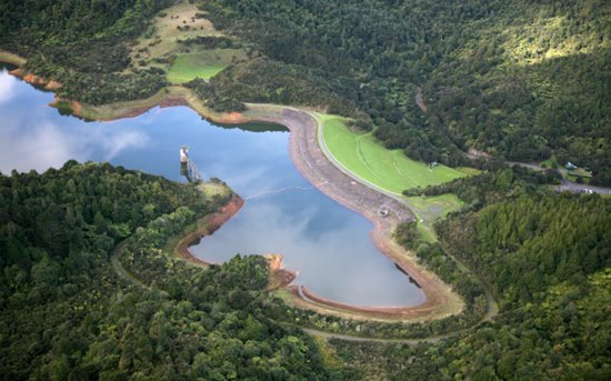 Aerial shot of the Hunua dams