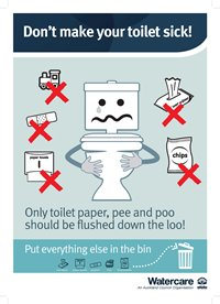 Poster that says, Don't make your toilet sick. Only toilet paper, pee and poo should be flushed down the loo.
