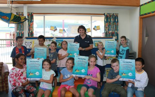 Watercare education coordinator Sally Smith shows Sam and Flo's Amazing Watery Adventure to students at Botany Downs Primary School.