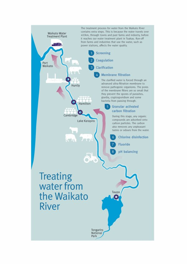 Diagram showing the process of treating water from the Waikato River.